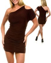 JFANY D USA women's one shoulder dress brown